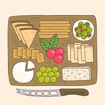 Refeição de queijo desenhada à mão na tábua de madeira