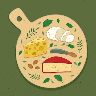 Refeição de queijo ilustrada em tabuleiro de madeira
