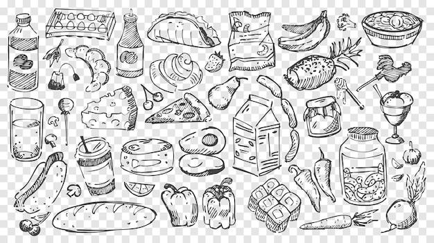 Refeição desenhada à mão doodles conjunto. coleção de lápis ou giz desenhando esboços de diferentes tipos de alimentos, frutas e vegetais em fundo transparente. ilustração de nutrição saudável e junk food.