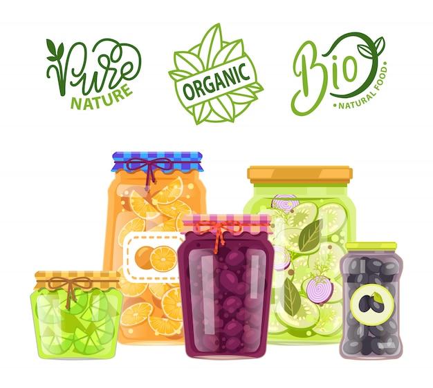 Refeição orgânica, natureza pura, conjunto de frascos de produtos bio