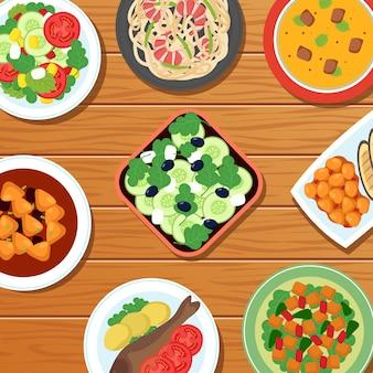 Refeição tailandesa asiática saudável no tampo da mesa