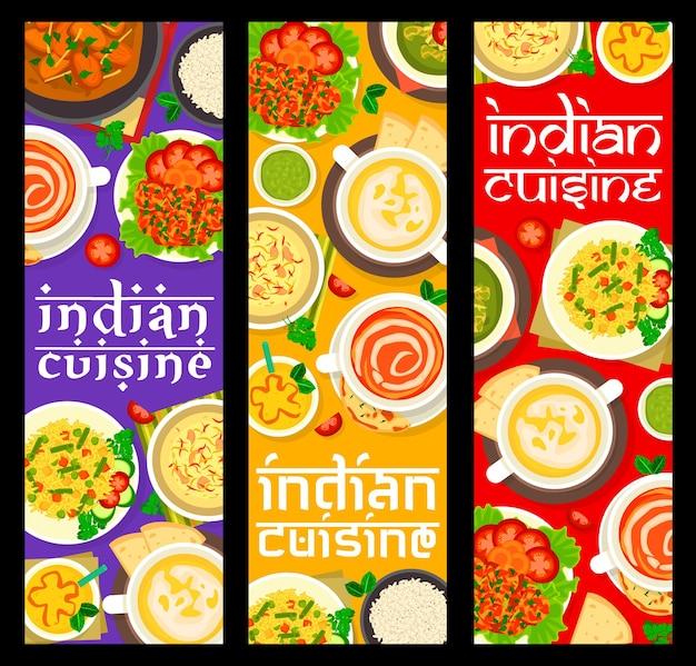 Refeições em restaurante de comida indiana e pratos banners verticais