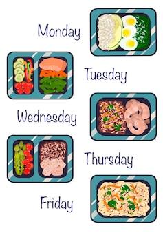 Refeições preparadas em recipientes uma dieta diária de ilustração vetorial de alimentos saudáveis em um estilo simples