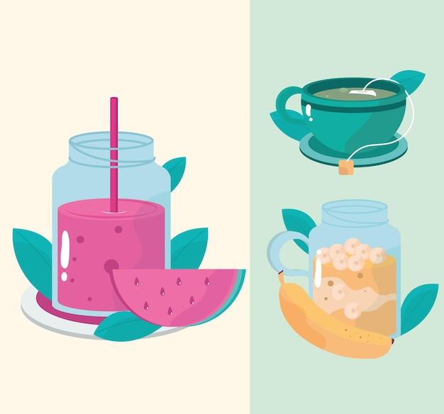 Refeições saudáveis chá suco frutas banana e ilustração de melancia