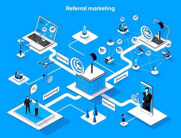 Referência de marketing isométrico web banner isometria plana
