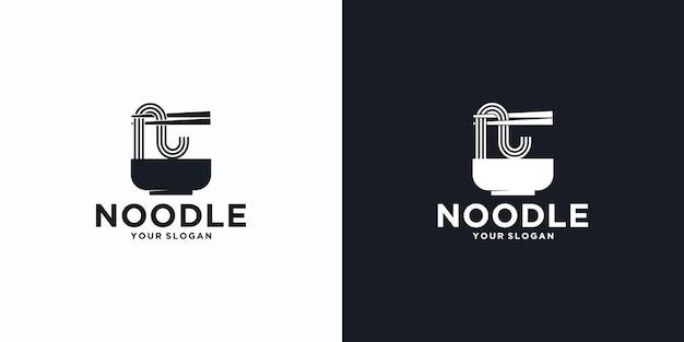 Referência do logotipo do noodle, com estilo inicial, loja de macarrão, ramen, udon, loja de alimentos e outros.