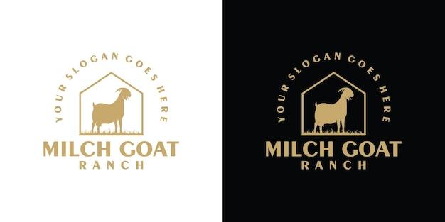 Referência do logotipo vintage de cabra leiteira