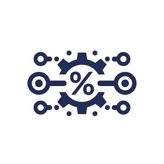 Refinanciamento, ícone de corte de taxa de juros em branco