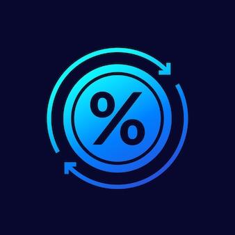Refinanciamento, ícone de vetor de redução de taxa de juros
