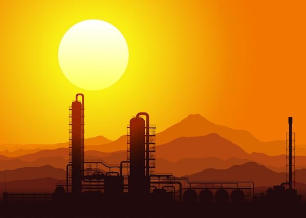 Refinaria de petróleo ao pôr do sol