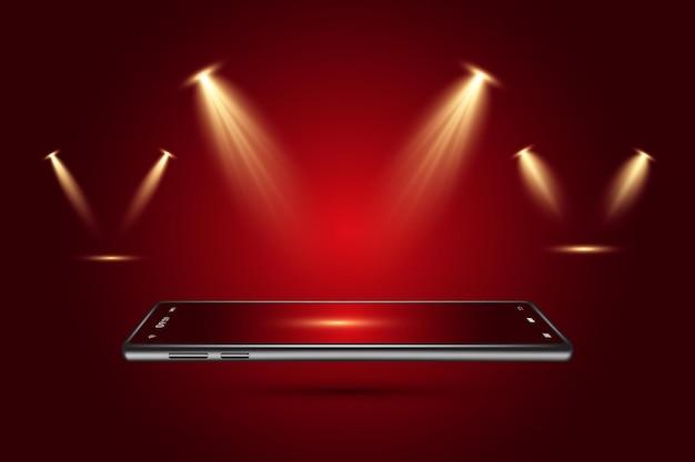 Refletor cênico de luz realista definido para a cena do palco do show e mostrado no escuro transparente