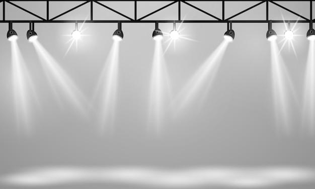 Refletor isolado em fundo transparente. cartaz para show de concertos