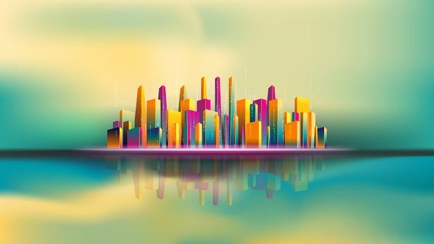 Reflexão da cidade de arranha-céus na água. cidade inteligente
