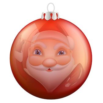Reflexão papai noel na bola de natal