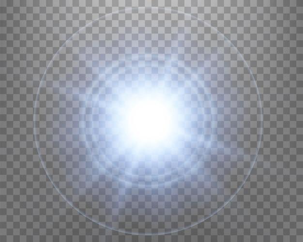 Reflexo de lente de luz solar azul, flash de sol com raios e holofotes. explosão de explosão brilhante em um fundo transparente. ilustração vetorial.