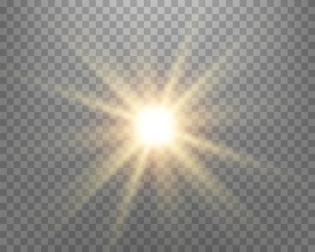 Reflexo de lente de luz solar, flash de sol com raios e holofote.