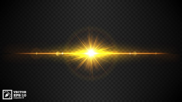 Reflexo de lente dourada em transparente