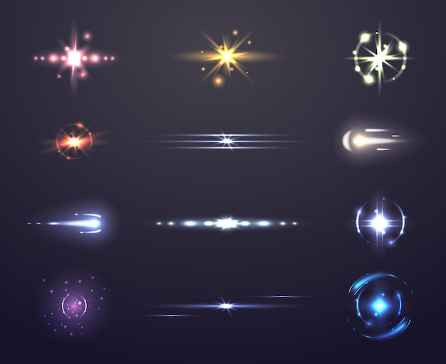 Reflexo de lente e brilho, conjunto de efeitos de luz,