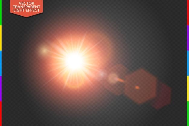 Reflexo de lente especial de luz solar vermelha brilhante