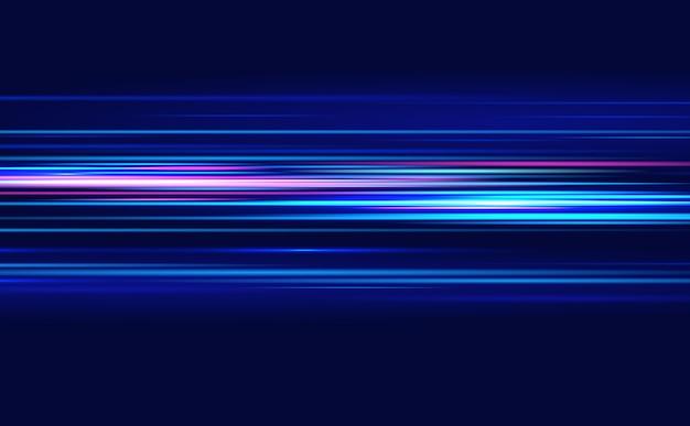 Reflexo de lente. linhas azuis. o efeito da velocidade em um azul. efeito de luz de movimento.