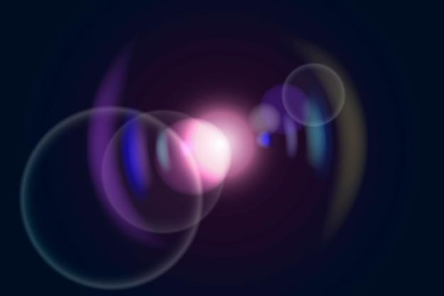 Reflexo de lente rosa com efeito de iluminação fantasma de anel colorido