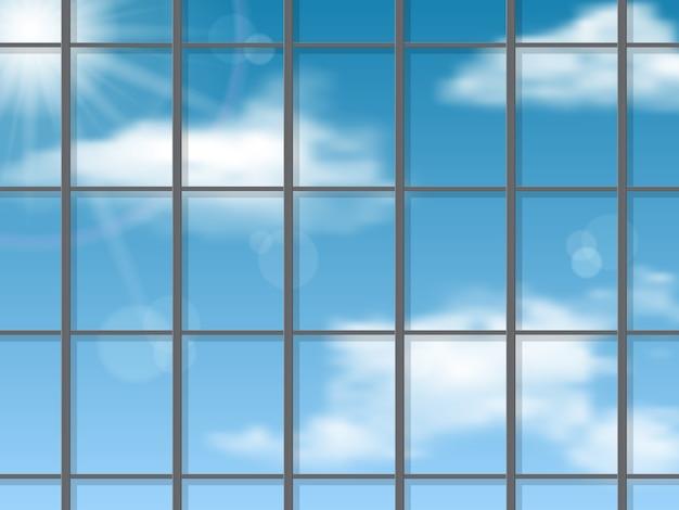 Reflexo do céu na parede do arranha-céu. fundo arquitetônico.
