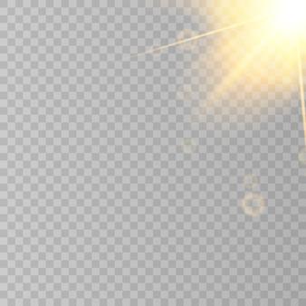 Reflexo do sol don fundo transparente