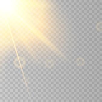 Reflexo do sol em fundo transparente