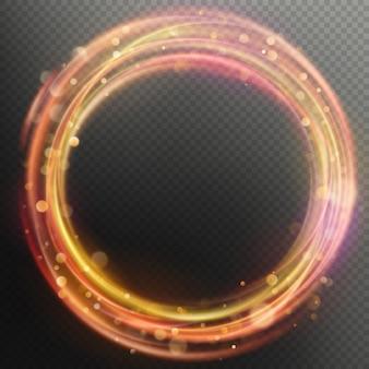 Reflexo mágico brilhante fogo anel círculo traçar efeito de sobreposição.