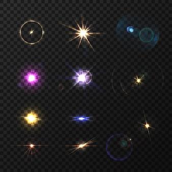 Reflexos de lente e brilho colorido conjunto realista isolado