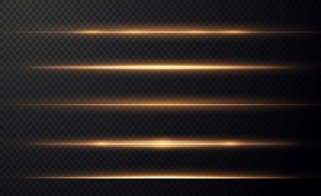Reflexos de lente horizontais dourados embalam feixes de laser raios de luz horizontal lindos foguetes Vetor Premium