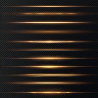 Reflexos de lente horizontais dourados embalam feixes de laser raios de luz horizontal lindos foguetes