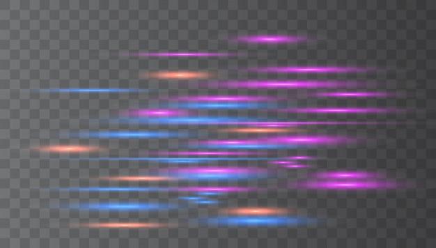 Reflexos de lente horizontal azul