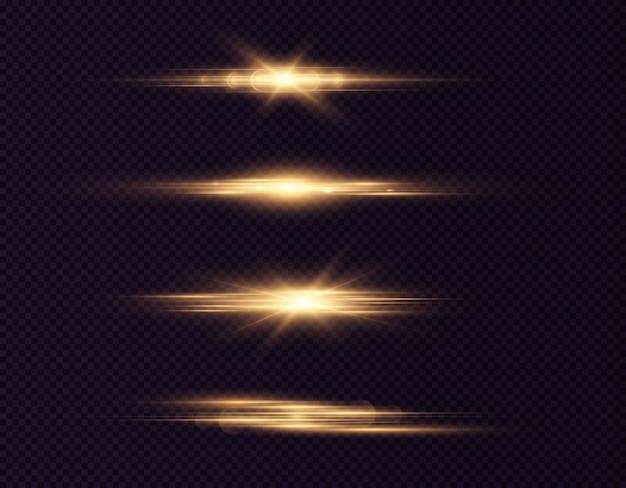 Reflexos de lentes horizontais douradas embalam feixes de laser reflexos de luz linhas brilhantes abstratas luminosas