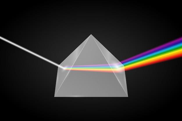 Refração da pirâmide de vidro da luz,