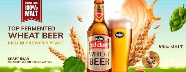Refrescante cerveja de trigo com garrafa de vidro cheia de bebidas e ingredientes voando no ar, ilustração 3d