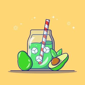 Refrescante suco de abacate em uma jarra de vidro com fatia de abacate e palha listrada ícone plana ilustração vetorial isolada.