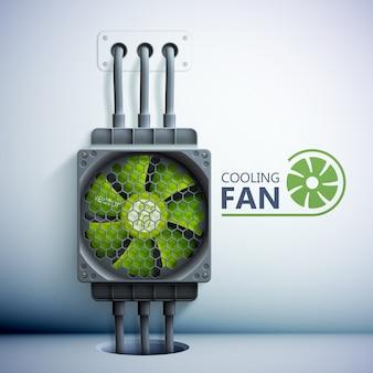 Refrigerador de computador de plástico verde com grade e fios, ilustração em estilo realista