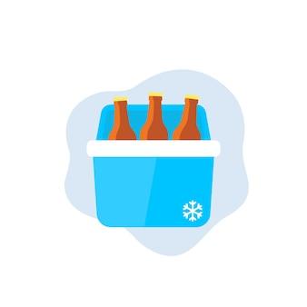 Refrigerador portátil com cerveja, ícone do vetor