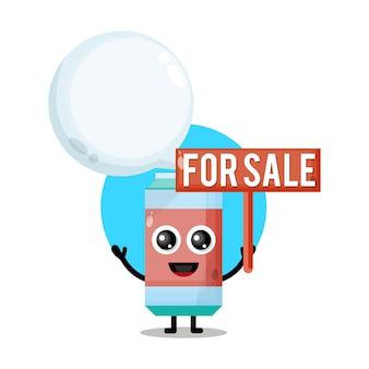 Refrigerante à venda mascote de personagem fofo