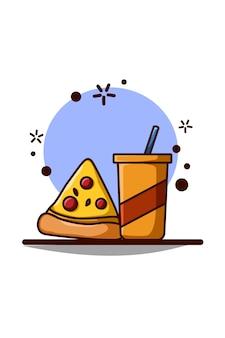 Refrigerante com design plano de ilustração de pizza