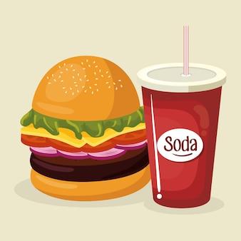 Refrigerante com hambúrguer fast food