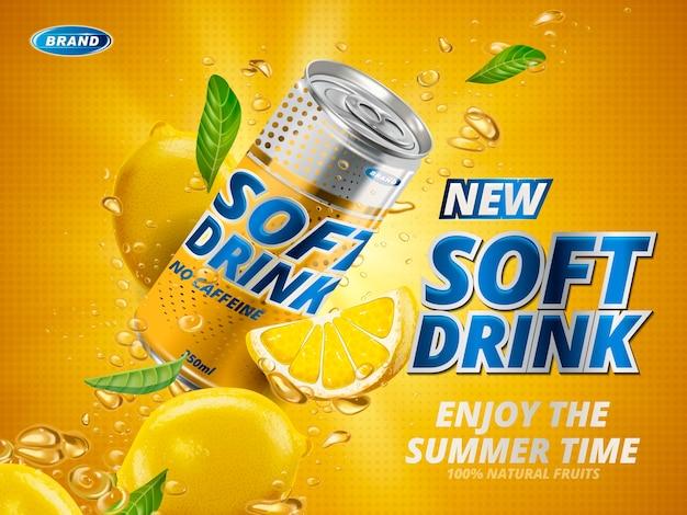 Refrigerante com sabor de limão contido na lata de metal amarelo,