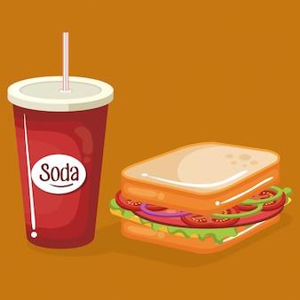 Refrigerante com sanduíche fast-food