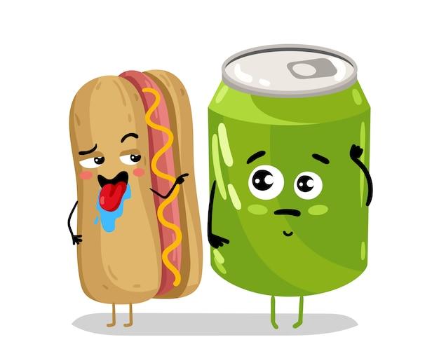 Refrigerante e cachorro-quente engraçado pode personagem de desenho animado