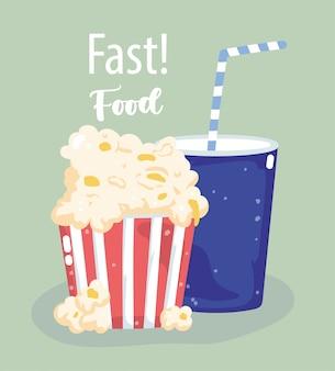 Refrigerante e pipoca de fast-food