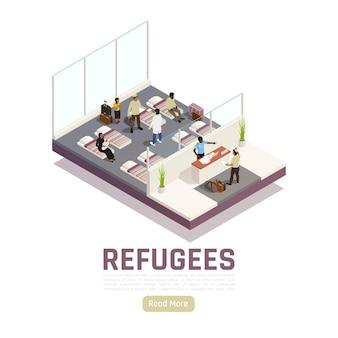 Refugiados apátridas requerentes de asilo centro interior composição isométrica