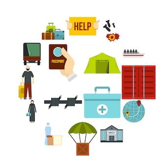 Refugiados, problema, jogo, apartamento, ícones