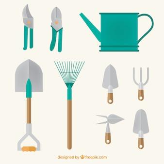 Rega ferramentas podem e jardim no design plano