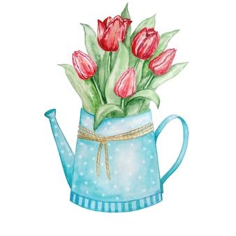 Regador com tulipas